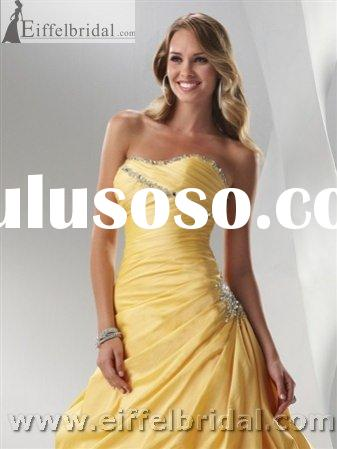 EVD11029 yellow elegant evening dress,2011 new style evening dress,fashion design evening dress