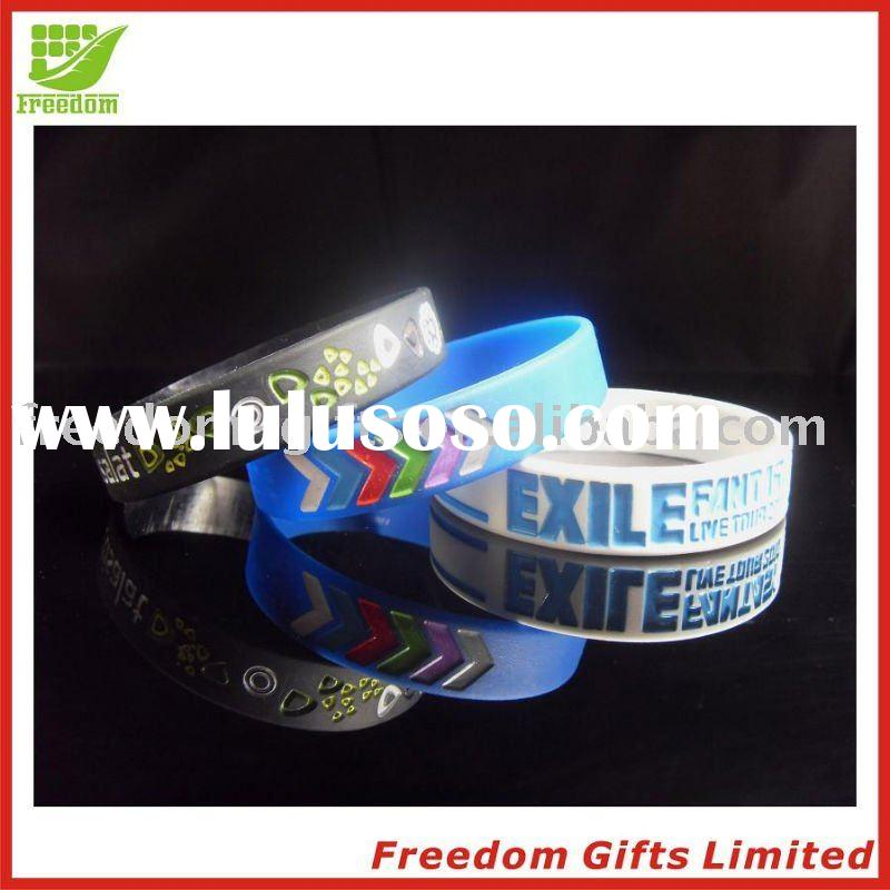 Eco-friendly Material Debossed Silicone Wristband/bracelet