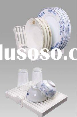 Eco-friendly Plastic Multifunction plate rack,folding dish drainer