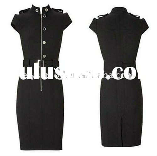 Elegant Evening Dresses Military Uniform Black Stretch Pencil Casual Dress DK042