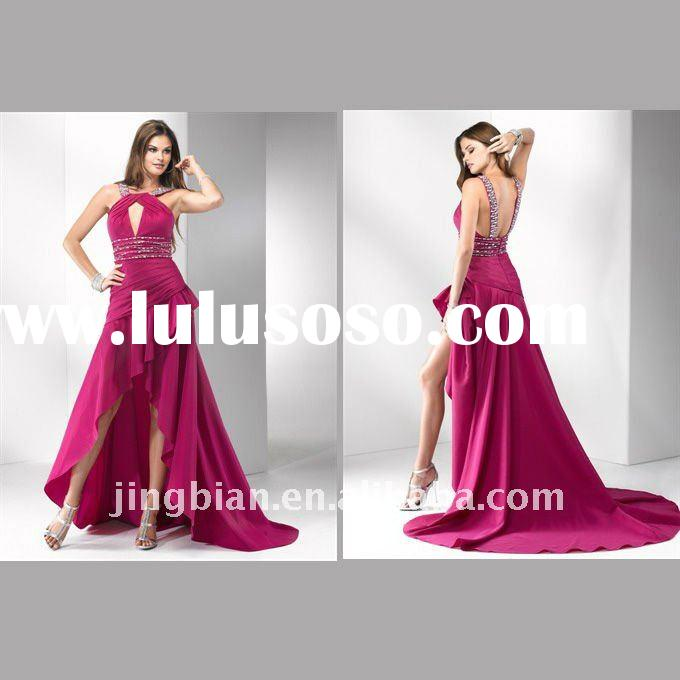 Elegant red High low evening dress latest design stylish prom dress 2012 fashion party dress SC280