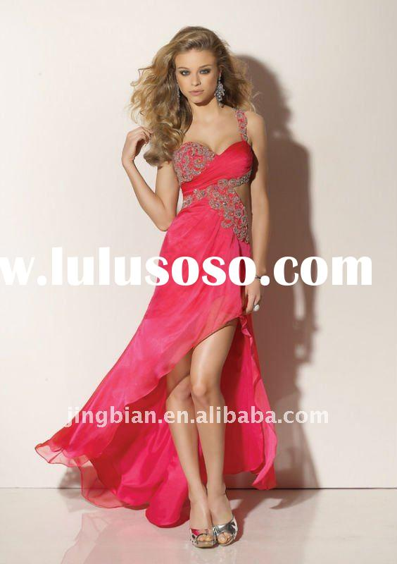 Elegant red stain high low neckline evening dress latest design stylish prom dress 2012 fashion part