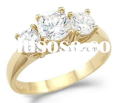 Engagement CZ Ring Solid 14k Yellow Gold Jewelry