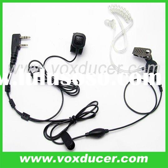 FBI style Acoustic tube headset with finger PTT for Kenwood Walkie Talkie 2-pin radio