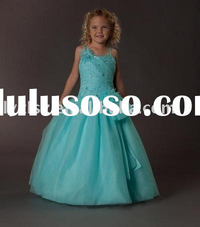 FG2203 lovely spaghetti straps girl pageant dress/flower girl dress