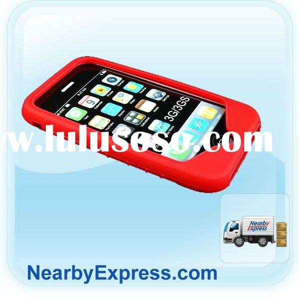 Factory direct price Red Silicone Case for iphone 3G Ripple