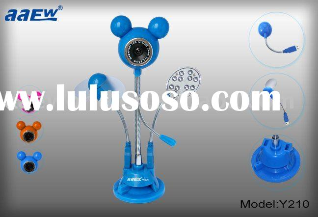 Fan and LED webcam, mickey webcam,usb pc camera ,web cam,web camera,Y24 free gift buy now!