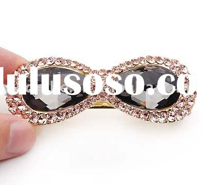 Fashion 2011 Style Black Crystal Set Gold Plated Alloy Hairclip 100379,Hair Ornament Jewelry