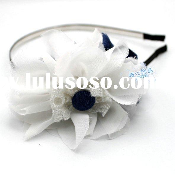 Fashion White Hair Accessories with Flower - 020131