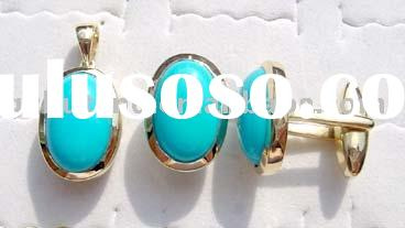 Fashion jewelry set: Gold pendant, ring & earring with gemstonesUSRCL611