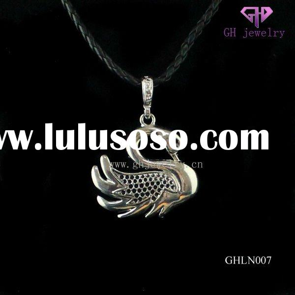 Fashion skull leather necklace with alloy swan pedant GHLN007
