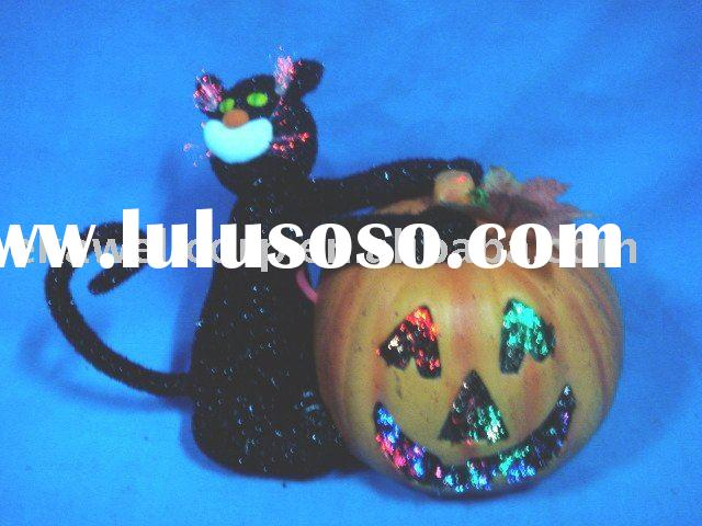 Fiber optic black cat hold pumpkin & Halloween pumpkin