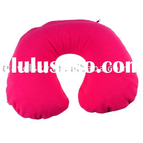 Fleece inflatable travel pillow