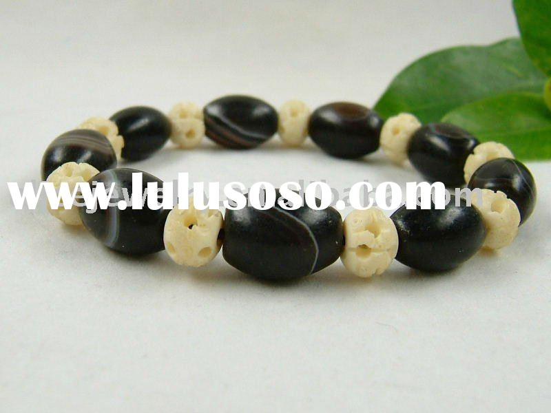 GB168 Old agate drum beads carved OX bone bracelet