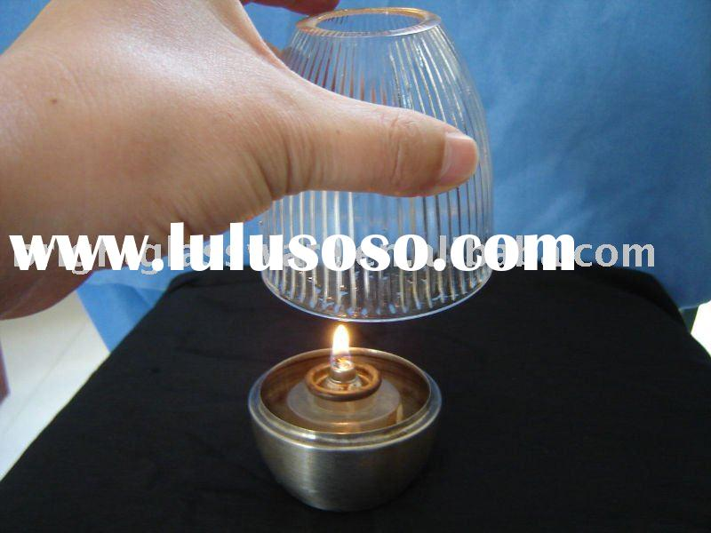 Glass lamp cover,stainless steel candle holder base