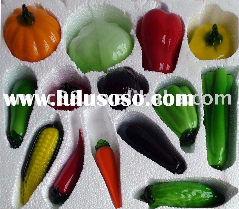 Glass vegetable handicraft for hotel & home decoration