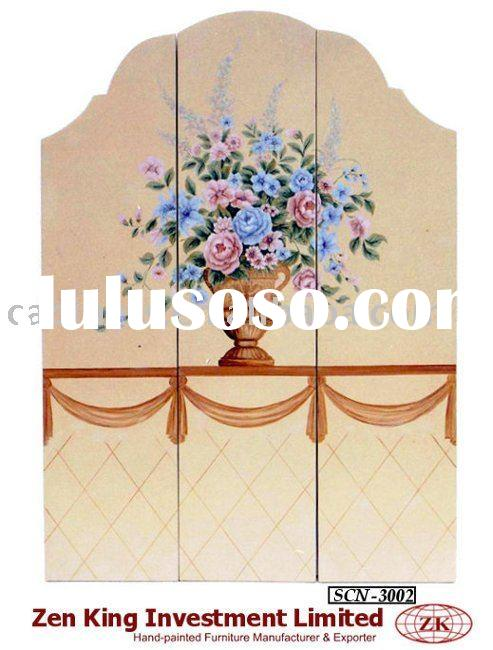 Hand Painted Victorian Style 3-Panel Wooden Screen Room Divider