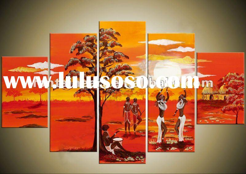 Handpainted Modern Group Modern Group African Oil Painting,Red,Yellow,five panels