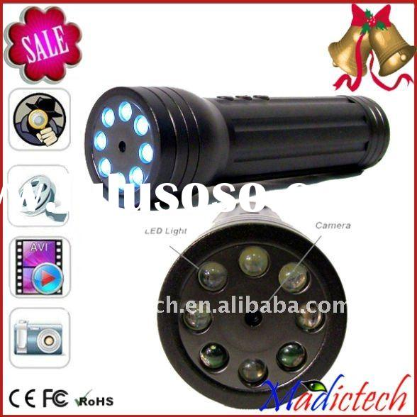 Hidden Flashlight security dvr recorder police portable dvr camera with LED
