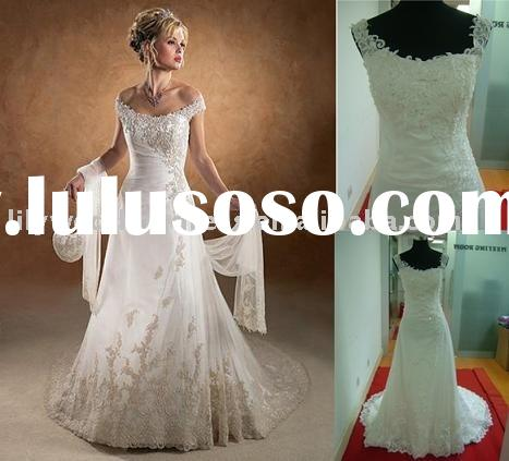High quality best price off shoulder appliques wedding Gown