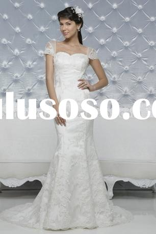 Hot sale cap-sleeve sweetheart neckline lace wedding dress/bridal gown/bridal wedding dress AWW018