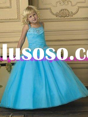Hotsale 2011 Lastest Design Blue Tulle Ball Gown Beautiful Flower Girl Dress