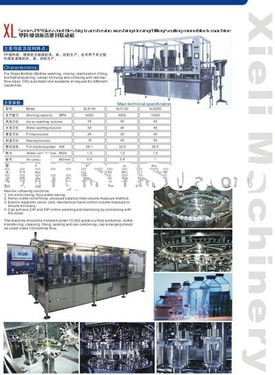 I.V Solution bottles washing, rinsing, filling and sealing machine