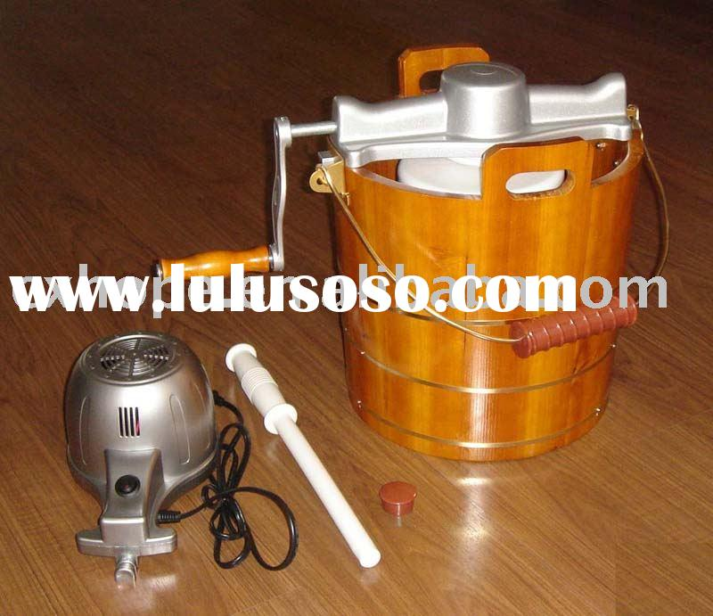 Ice Cream Maker(Wooden bucket ice cream maker with hand crank, manual ice cream maker)