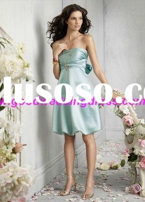 Ice blue satin strapless A-line knee-length bubble bridesmaid dress 2011