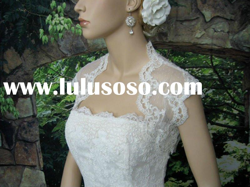 Ivory sleeveless bridal dot lace wedding bolero jacket DC-A010