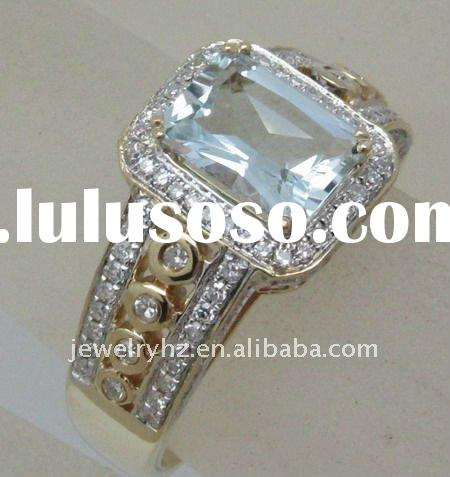 JEWELRY WHOLESALE SOLID 14k WHITE GOLD EMERALD CUT NATURAL DIAMOND & AQUAMARINE JEWELRY