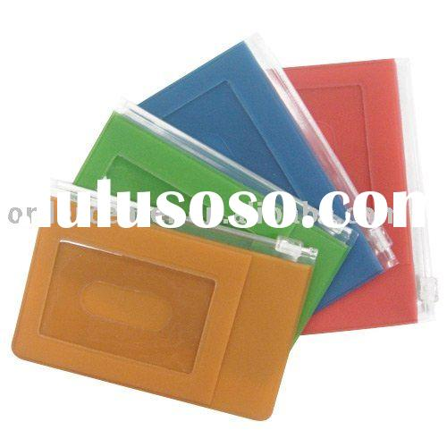 Jelly PVC Card Holder/Ticket Holder/ID Card Holder with a zip lock pocket