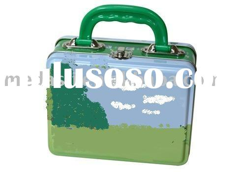 Keepsake lunch box with plastic handle and latch (#KK5006) size:240 x 170 x 80 mm