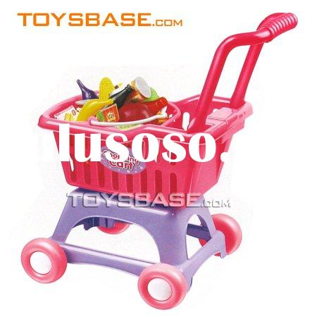 Kids preschool toys plastic shopping cart with food toy