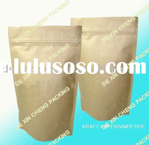 Kraft Brown Paper Coffee Bags With Zipper Foil Lined