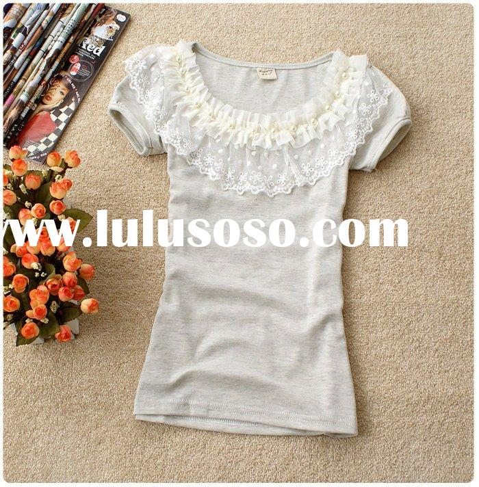 Ladies' trendy short sleeve cotton t-shirts with lace collar