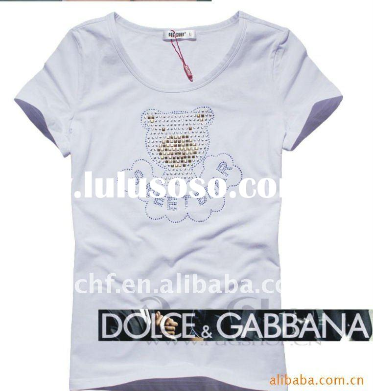 Ladies' white fashion cotton short sleeve t-shirts with rhinestone
