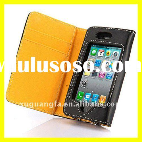 Leather Wallet Flip Case for Apple iPhone 4 4S Credit Card Holder Cover Accessories New 9colors Yell