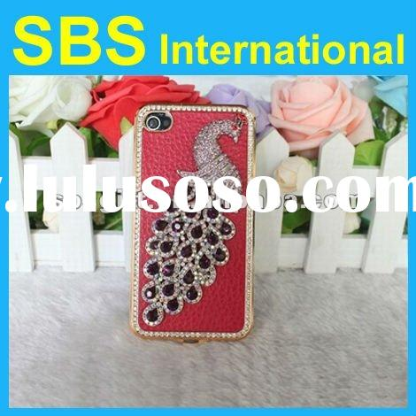 Luxury diamond peafowl design leather skin hard case for iPhone4 4S