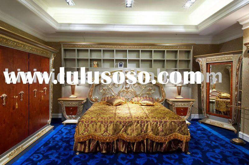 Luxury home king size bed, hand carved, 24K gold plated, bronze and wood (B23524)