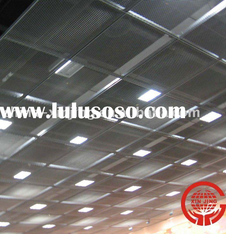Metal stretched drop ceiling tiles/grid panel