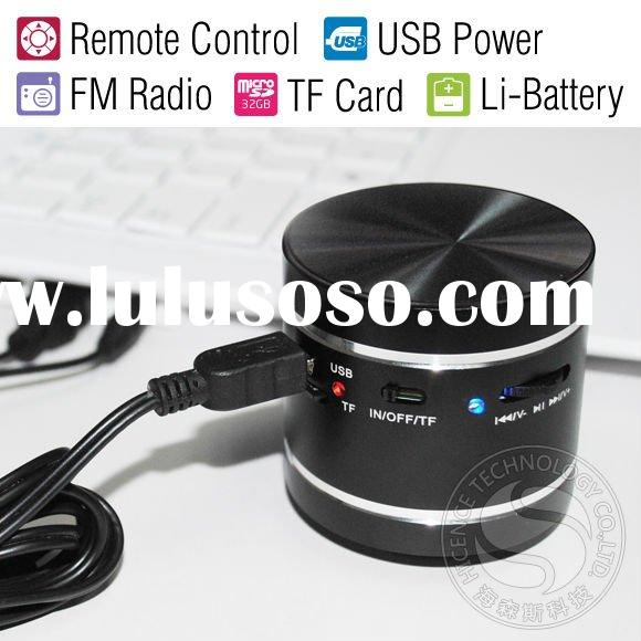 Mini Vibro Speaker with FM Radio MP3 Player MicroSD Slot Remot Control for Computer/iPod/MP3/Digital