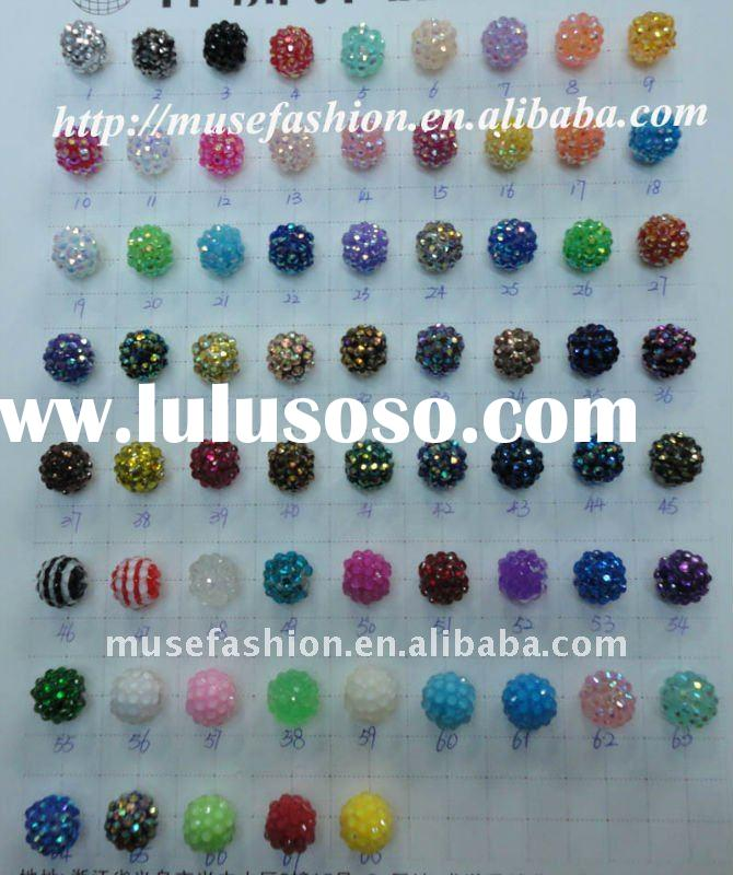 Mix colors loose basketball wives earring beads,shamballa resin beads for basketball wives earrings