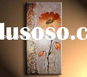 Modern Abstract Flower oil painting,silver,grey,red