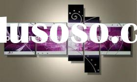 Modern Canvas Oil Painting,Black,white,purple,five panels