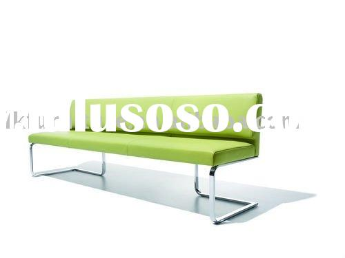 Modern Metal Leg Sofa Bench In Leather Upholstery
