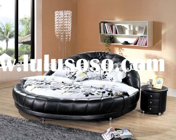 Modern Round Leather Bed 5#2