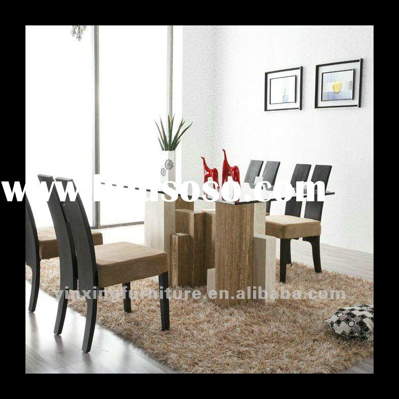 Modern Tempered Glass Dining Table With Marble Legs D1106