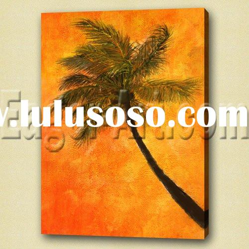 Modern stretched palm tree oil painting
