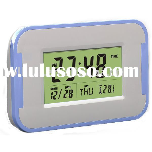 Multi color digital alarm clock with calendar